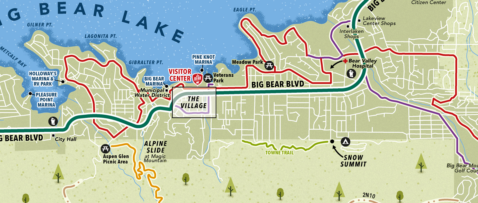 Big Bear Lake map close-up