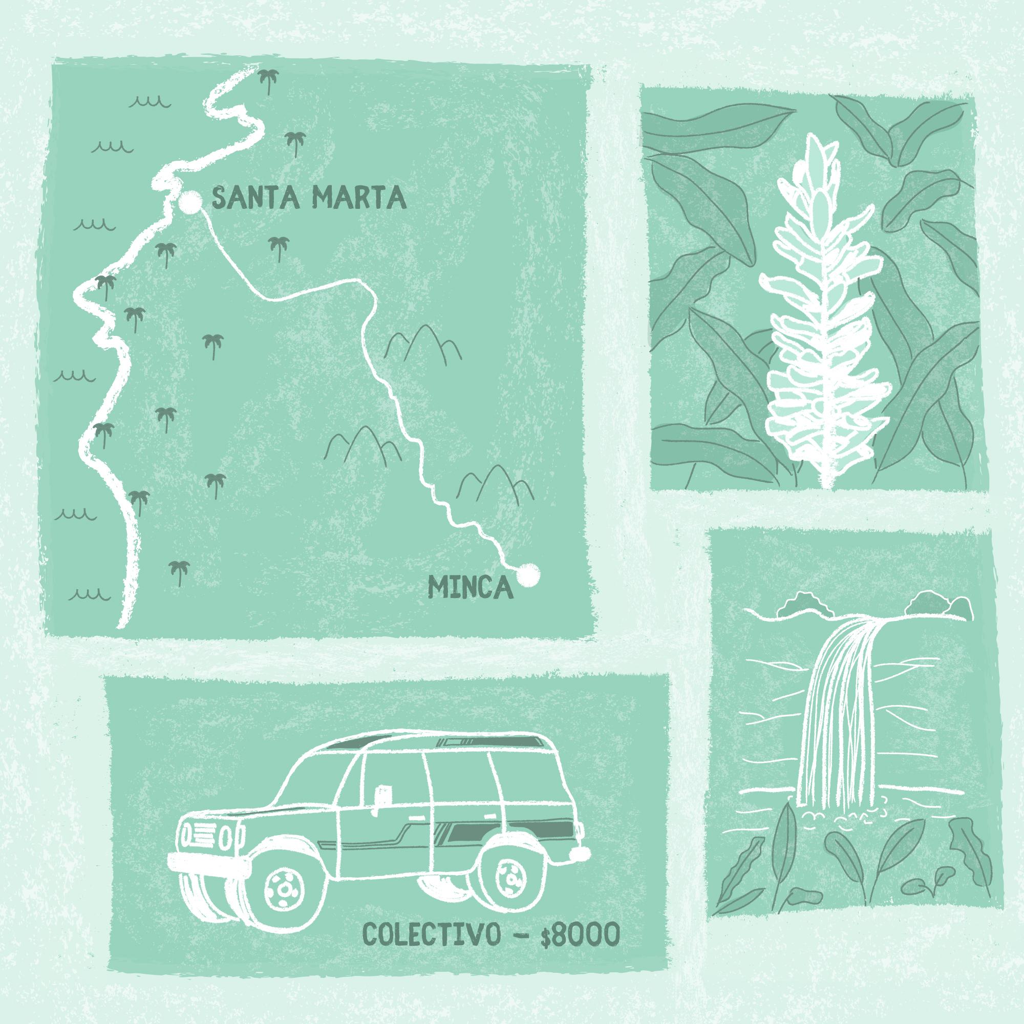 Minca, Colombia travel illustration