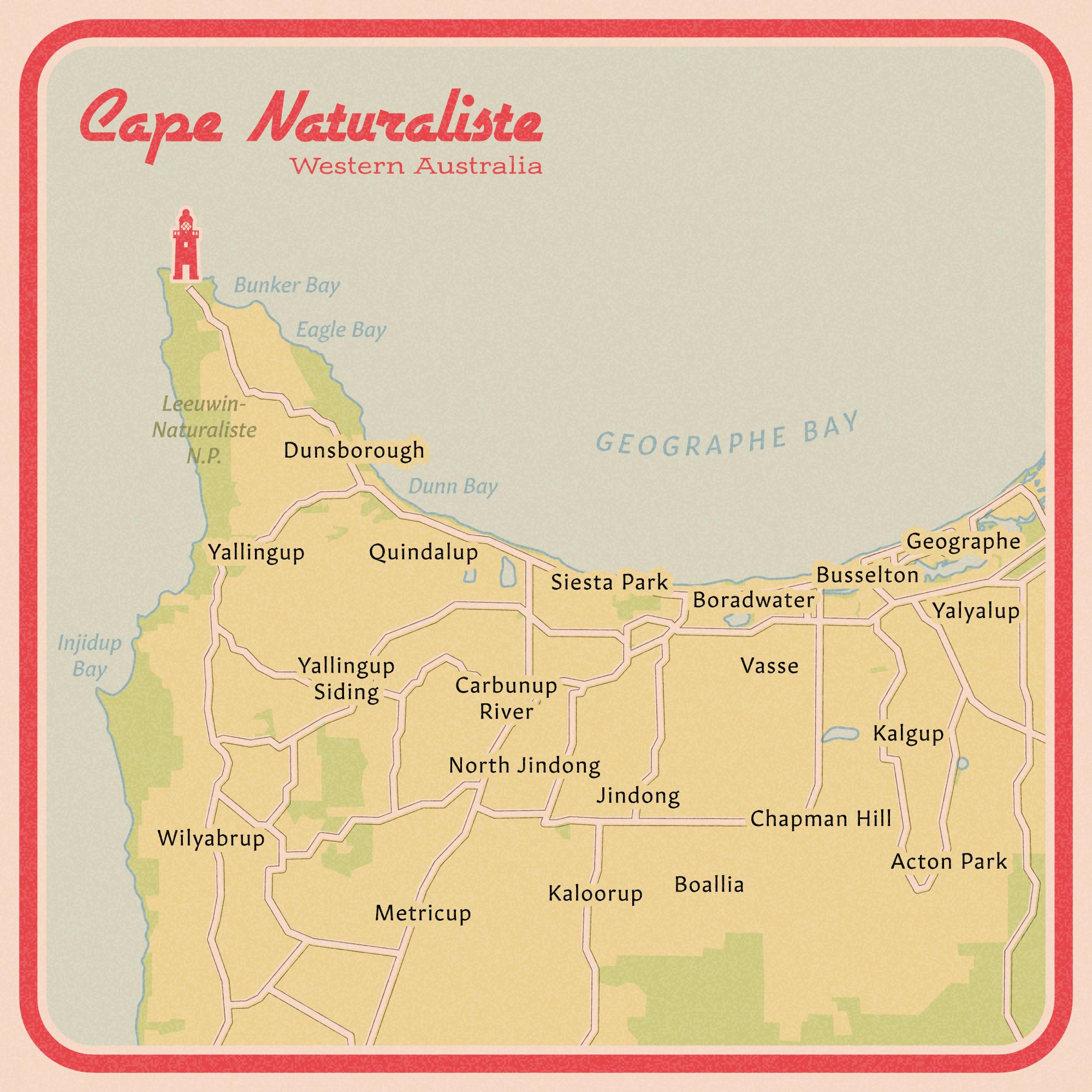 Cape Naturaliste vintage road map