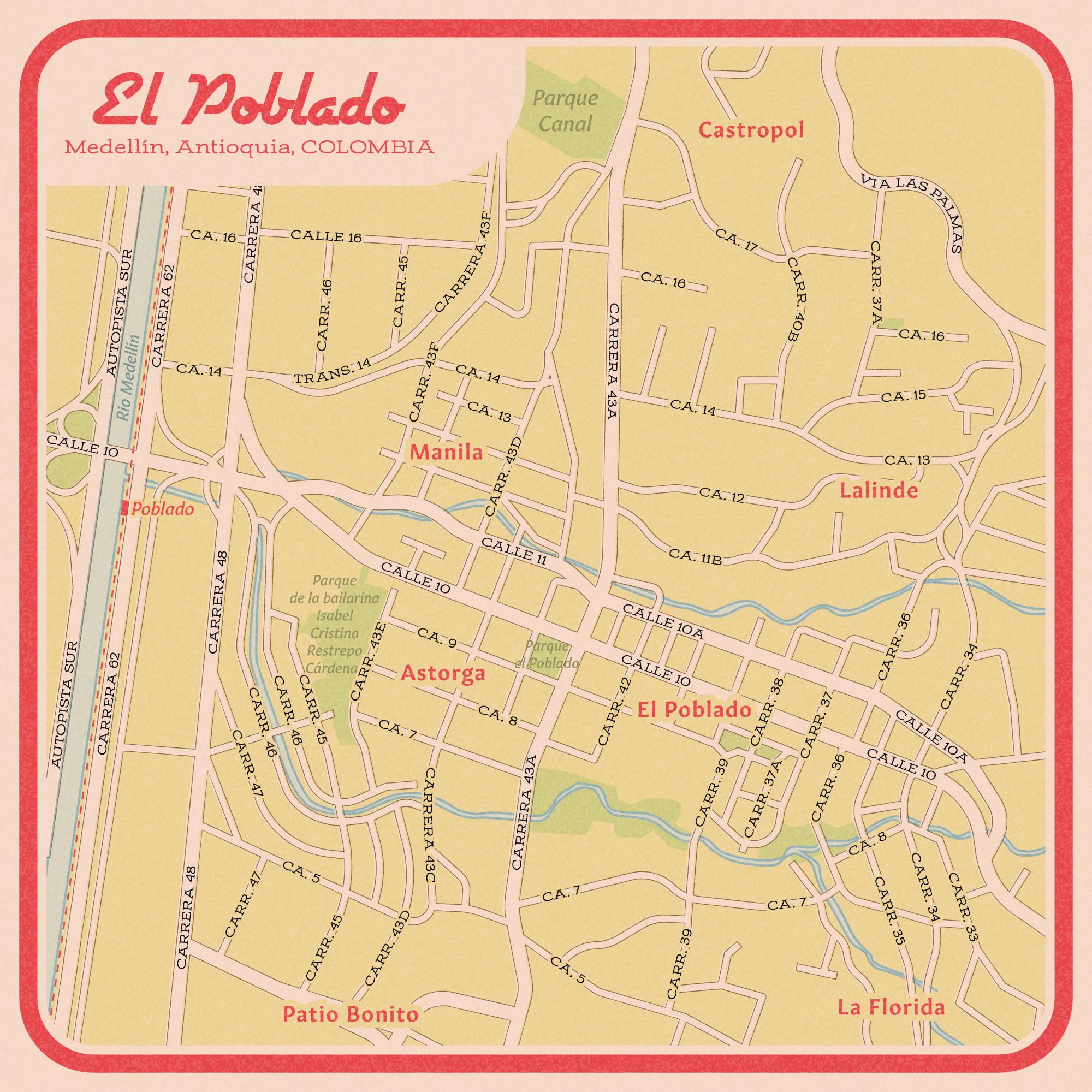 Medellin vintage street map