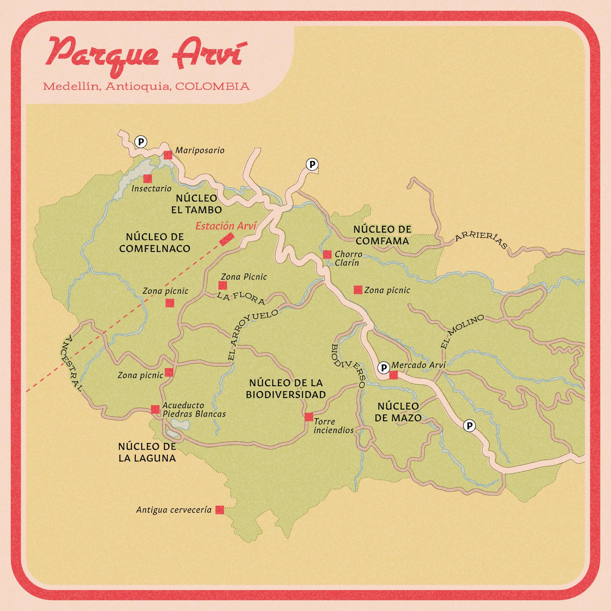 Parque Arví vintage road map