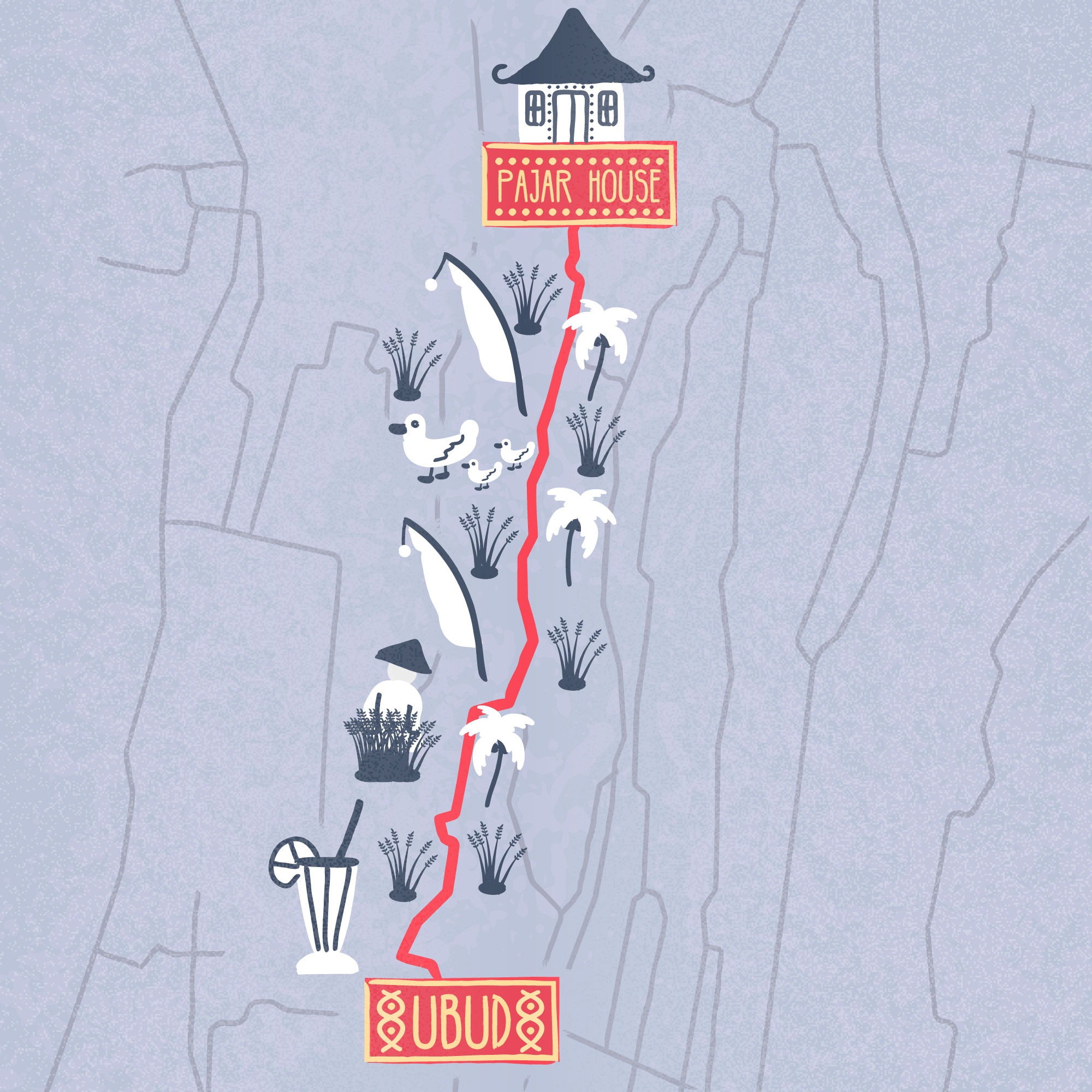 Fun and naive illustrated map of Ubud