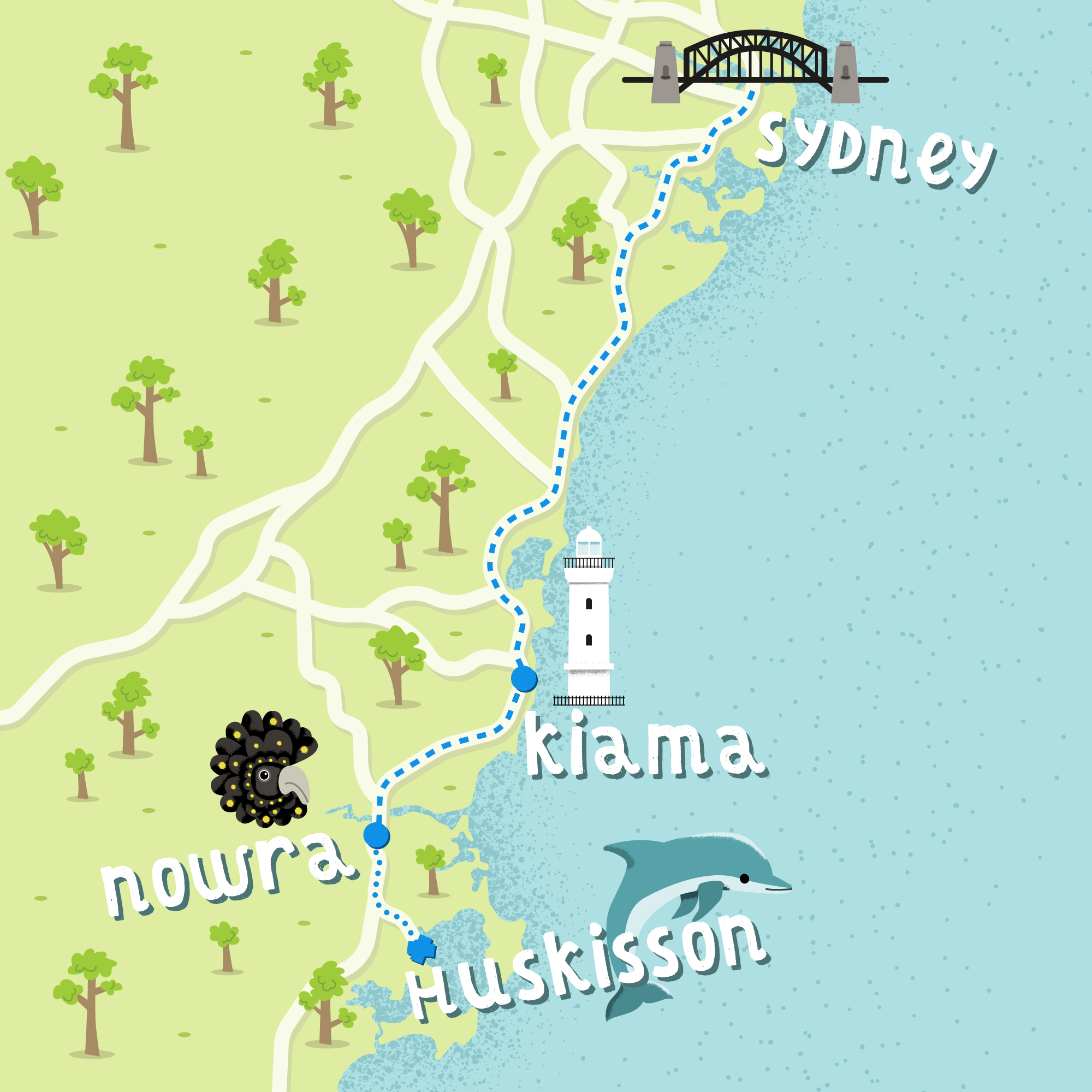New South Wales illustrated map
