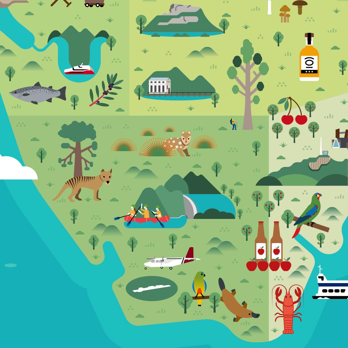 Tasmania illustrated map thumbnail