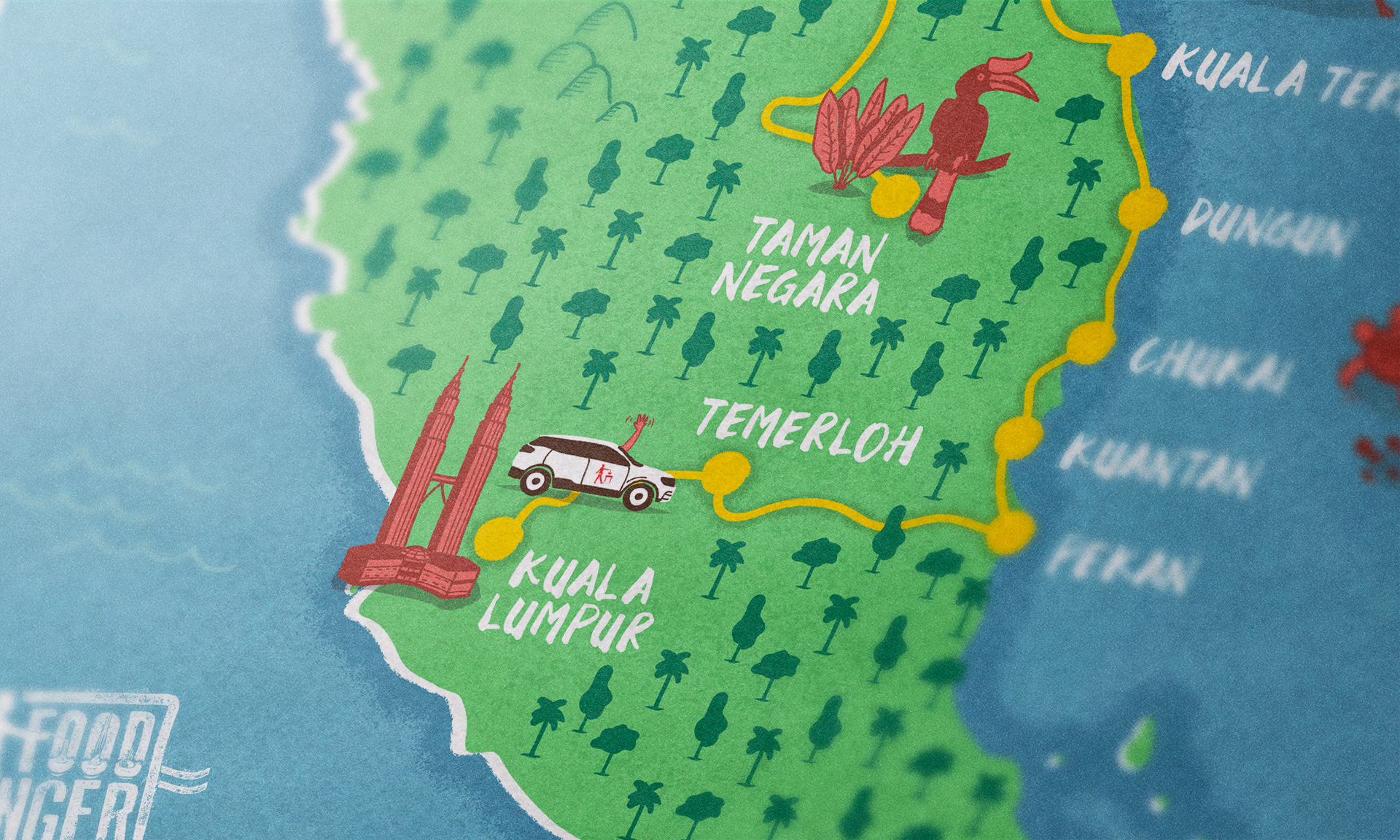 Malaysian food road trip map close-up