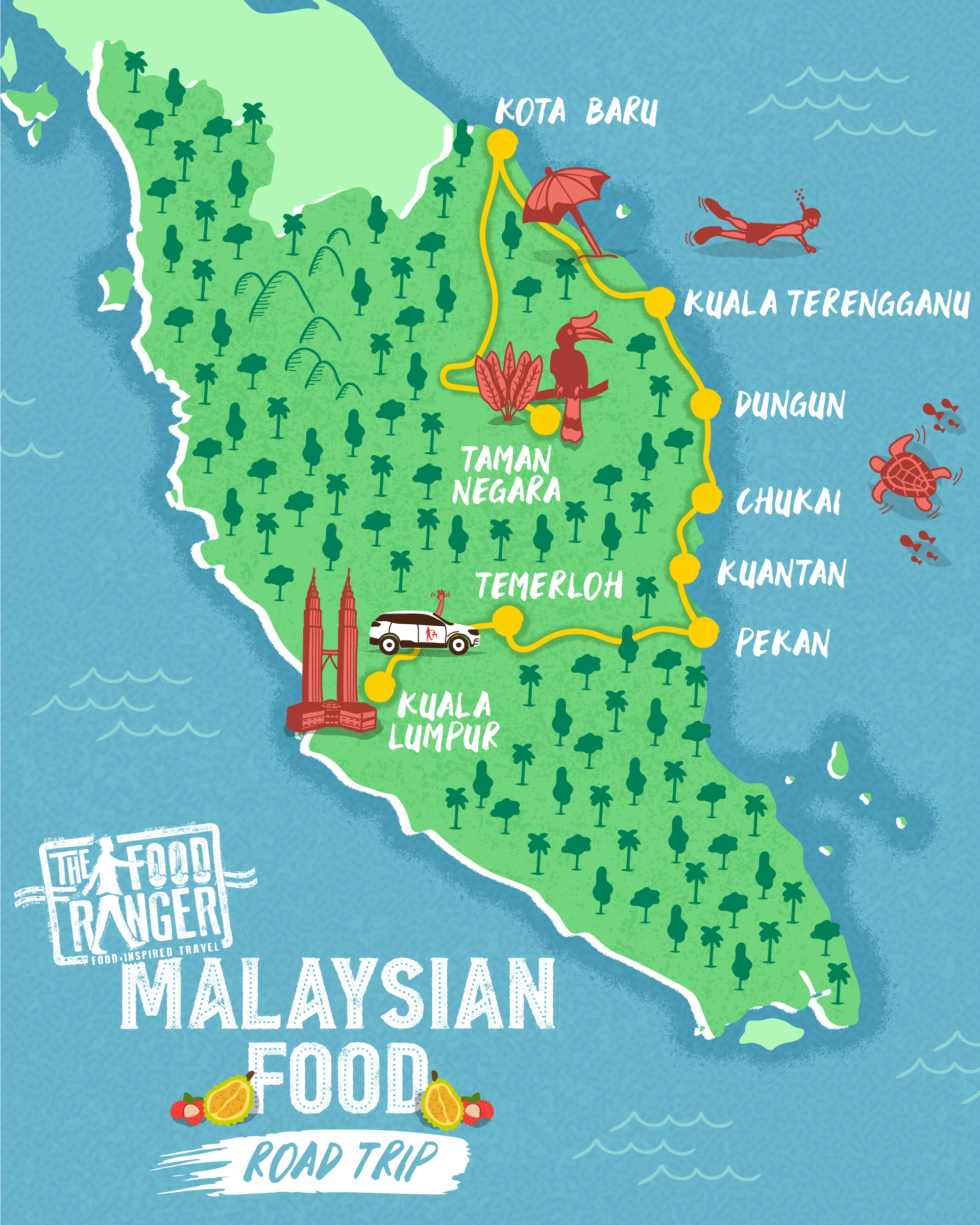 Malays illustrated itinerary map
