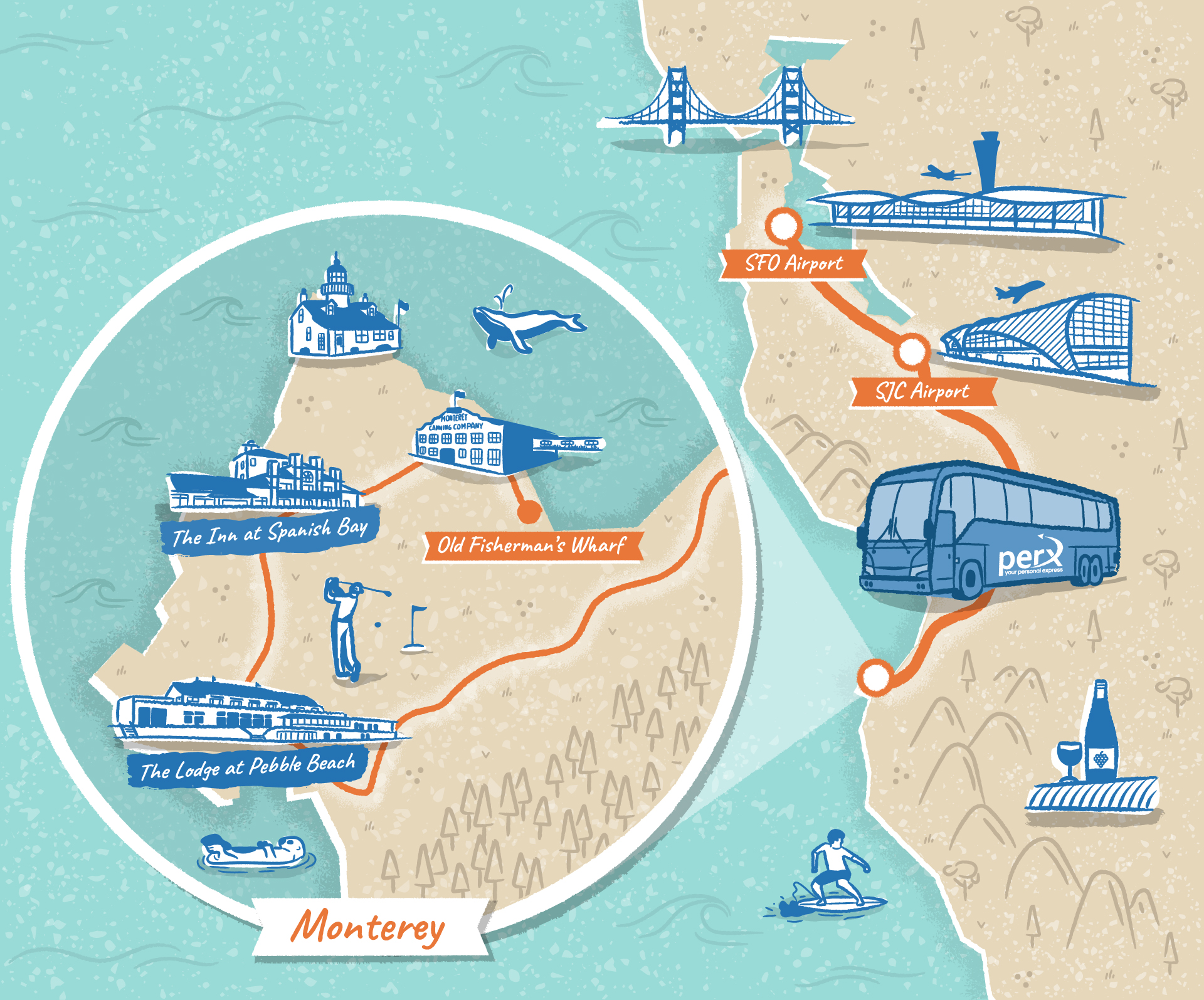 San Francisco to Monterey illustrated map