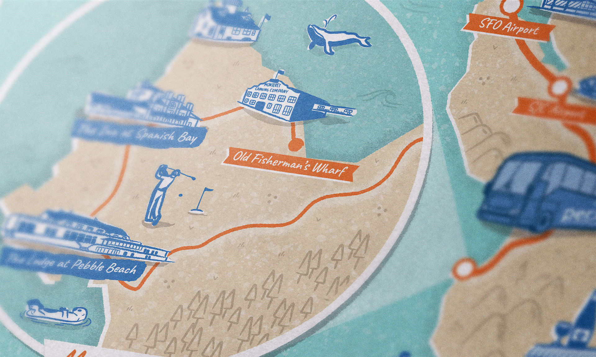 Monterey illustrated map close-up