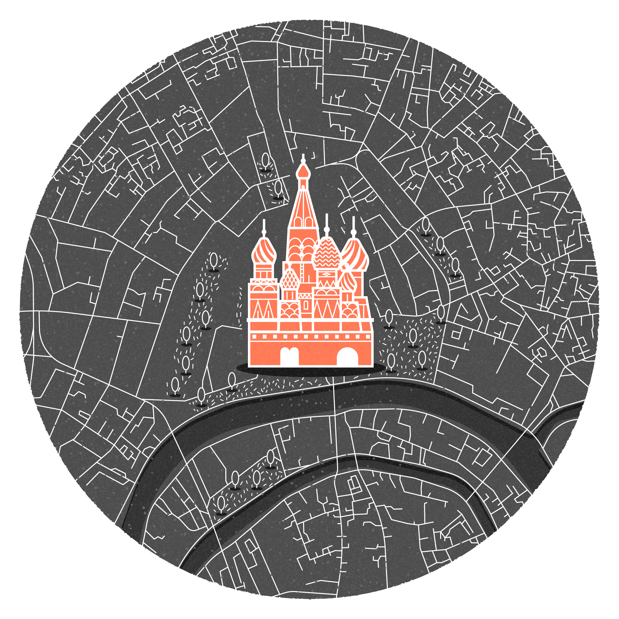 Mini illustrated map of Moscow