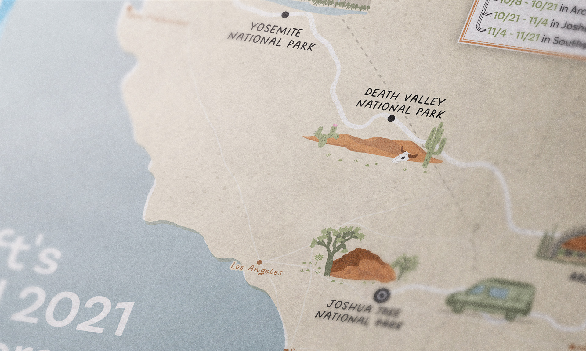 Road trip map close up